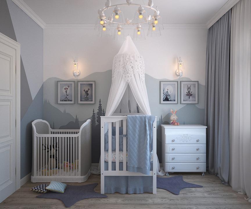 pokój dla niemowlaka w odcieniach niebieskiego